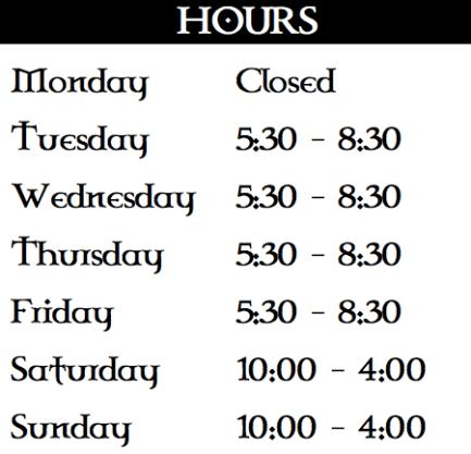 Hours - shop